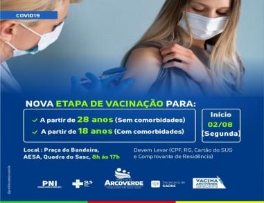 Arcoverde AMPLIA vacinação: Pessoas com 28 anos ou mais podem ir aos pontos a partir de segunda (02)