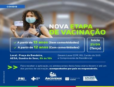 Arcoverde abre nova etapa de vacinação contra a Covid-19 para 13 anos ou mais, sem comorbidades